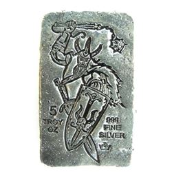 .999 Fine pure Silver Poured Bar 5oz Troy