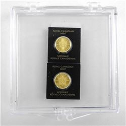 Lot (2) .9999 Fine Pure Gold Maple Leafs Serialize