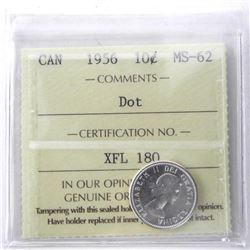Canada 1956 Silver 10 Cent. MS62. Dot (ER)