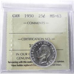 1950 Canada Silver 25 Cent MS-63. ICCS.