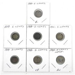 Lot (7) 925 Silver 5 Cents: Early 1900