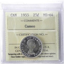 1955 Canada Silver 25 Cent MS-64. ICCS.