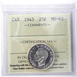 1945 Canada Silver 25 Cent MS-63. ICCS.