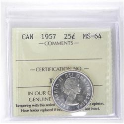 1957 Canada Silver 25 Cent MS64. ICCS.