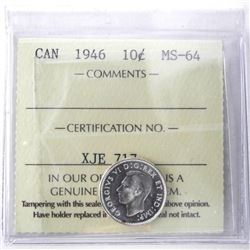 1946 Canada Silver 10 Cent MS-64. ICCS.