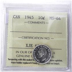 1945 Canada Silver 10 Cent MS-64. ICCS.
