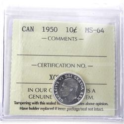 1950 Canada Silver 10 Cent MS-64. ICCS.