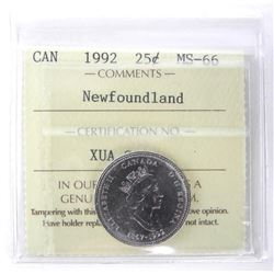 1992 Canada 25 Cent NFLD MS66. ICCS.