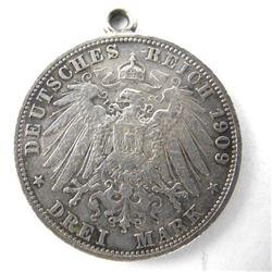 Estate - 1909 'DREI MARK' Silver Coin Pendant