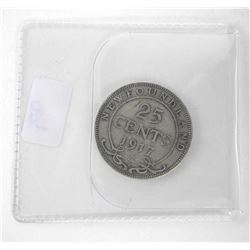 1917 NFLD Silver 25 Cents