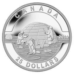 $25 - 2014 The Igloo - O Canada .9999 Fine Silver.