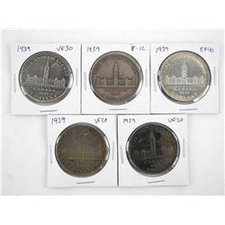 Lot (5) 1939 Canada Silver Dollars