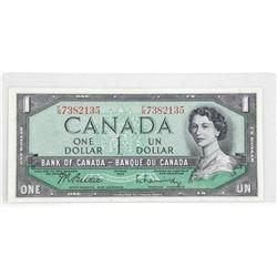 Bank of Canada 1954 One Dollar Note. F/N Prefix