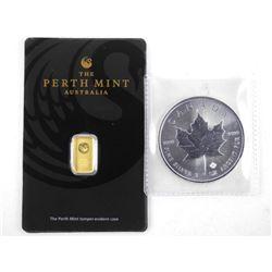 Lot - .9999 Fine Pure Gold Bar and 2019 .9999 Fine