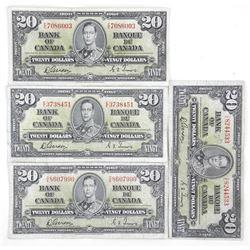 Lot (4) Bank of Canada 1937 Twenty Dollar Notes. G