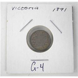 1891 Canada 925 Silver 5 Cent Victoria G-4
