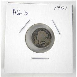 1901 Victoria 925 Silver 5 Cent AG-3