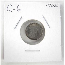 1902 Edward 925 Silver 5 Cent G-6