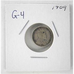 1909 Edward 925 Silver 5 Cent. G-4