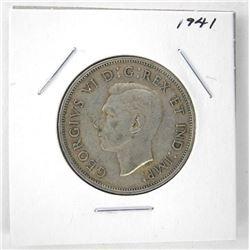 1941 George VI Canada Silver 50 Cent Coin