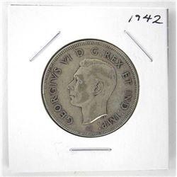 1942 George VI Canada Silver 50 Cent Coin