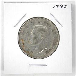 1943 George VI Canada Silver 50 Cent Coin