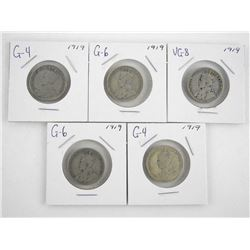 Lot (5) Canada 1919 George V Silver 25 Cent. '100