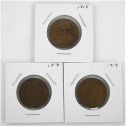 Lot (3) George Canada Large One Cent: 1917, 1918,