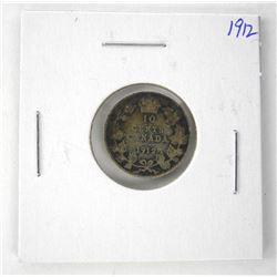 1912 Canada Silver 10 Cents 'Edward'