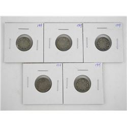 Lot (5) Canada Silver George V Ten Cents
