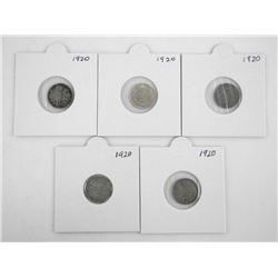Lot (5) Canada Silver 1920 5 Cents