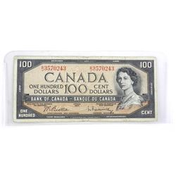 Bank of Canada 1954 One Hundred Dollar Note. B/R