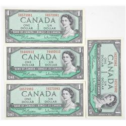 Lot (4) Bank of Canada 1954 one Dollar Notes