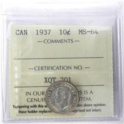 1937 Canada Silver 10 Cent. MS64. ICCS.