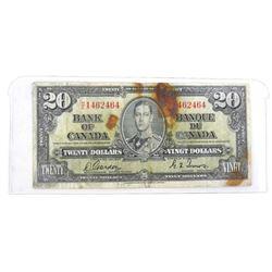 Bank of Canada 1937 Twenty Dollar Note G/T