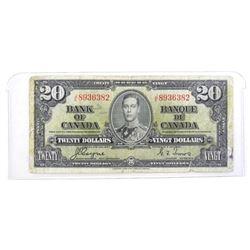 Bank of Canada 1937 Twenty Dollar Note C/T