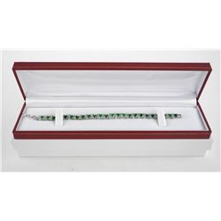 925 Sterling Tennis Style Bracelet, Emerald Green