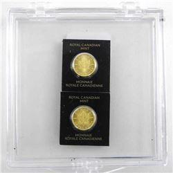 Lot (2) .9999 Pure Gold Maple Leaf Coins Serialize