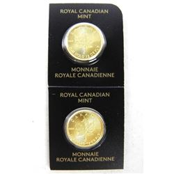 Lot (2) .9999 Fine Pure Gold Maple Leaf Coins