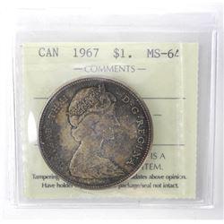 1967 Canada Silver Dollar. ICCS. MS64