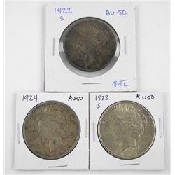 Lot (3) U.S. Silver Peace Dollars: 1922-1923(S)-19