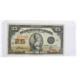 Dominion of Canada 1925 Twenty Five Cent Note