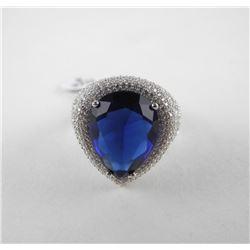 925 Sterling Silver Custom Ring, Pear Shape Sapphi