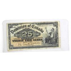 Dominion of Canada 1900 Twenty Five Cent Note