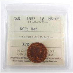 1953 Canada 1 Cent NSF: Red MS65 (KR)