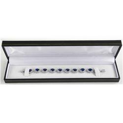 925 Silver Cluster Bracelet - Oval Sapphire Blue a