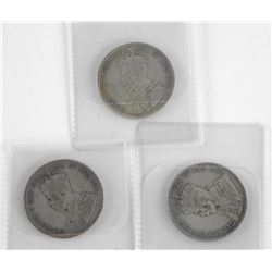 Lot (3) NFLD 925 Silver 50 Cent: 1911, 1917, 1919