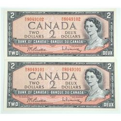 Lot (2) Bank of Canada 1954 Two Dollar Note. UNC I