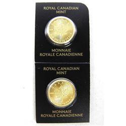 Lot (2) 9999 Fine Pure Gold Maple Leaf Coins Seria