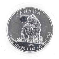 .9999 Fine Silver $5.00 Coin 'Howling Wolf' 1oz